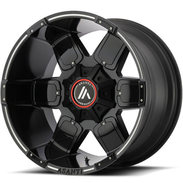Asanti Off-Road AB-811 Satin Black Milled with Gloss Black Accents