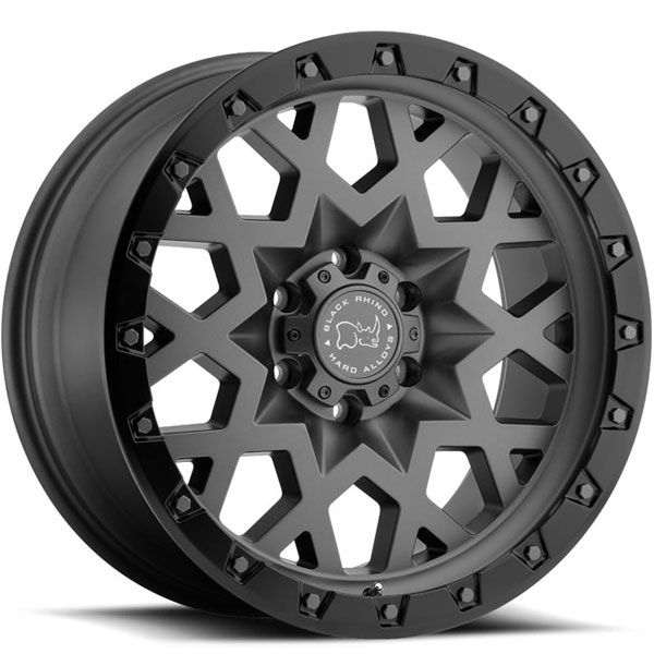 Black Rhino Sprocket Matte Gunmetal with Black Lip Edge