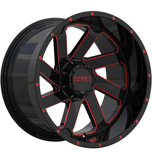 Massiv Offroad OR4 Gloss Black with Red Milled Spokes