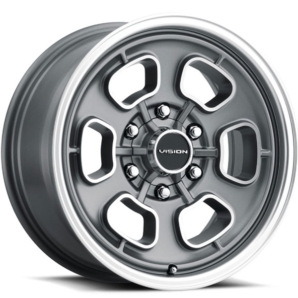 Vision 148 Shift Satin Grey with Machined Face and Lip 6 Lug